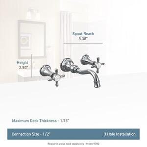 Weymouth brushed gold two-handle wall mount bathroom faucet