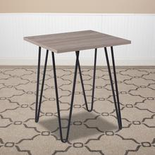See Details - Oak Park Collection Driftwood Wood Grain Finish End Table with Black Metal Legs