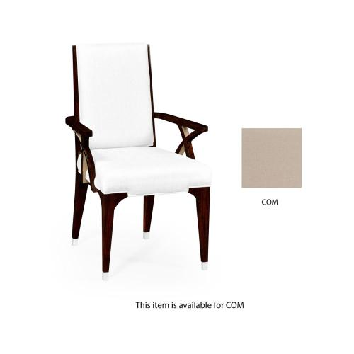 Dining armchair with stainless steel detailing, upholstered in COM