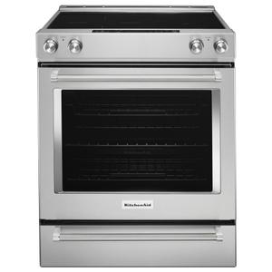 Kitchenaid  30-Inch 5-Element Electric Convection Slide-In Range with Baking Drawer - Stainless Steel