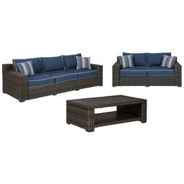 See Details - Outdoor Sofa and Loveseat With Coffee Table