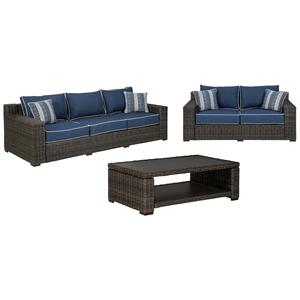 Ashley - Outdoor Sofa and Loveseat With Coffee Table