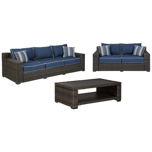 3-piece Outdoor Sofa and Loveseat With Coffee Table
