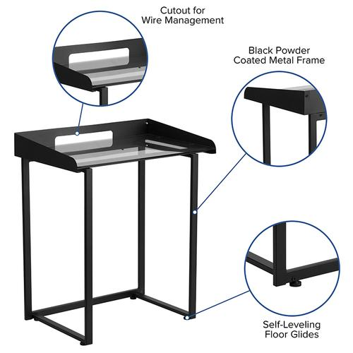 Flash Furniture - Contemporary Clear Tempered Glass Desk with Raised Cable Management Border and Black Metal Frame