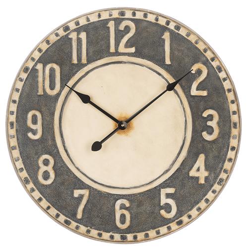 Distressed Black & Ivory Wall Clock