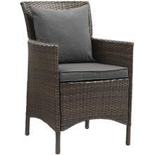 Conduit Outdoor Patio Wicker Rattan Dining Armchair in Brown Charcoal