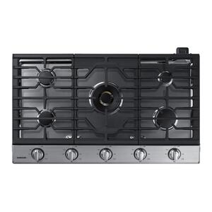 """36"""" Smart Gas Cooktop with 22K BTU Dual Power Burner in Stainless Steel Product Image"""