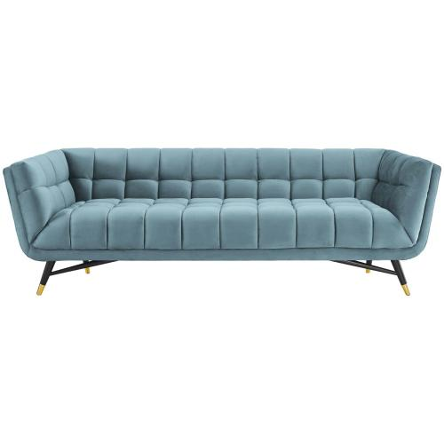 Adept Performance Velvet Sofa in Sea Blue