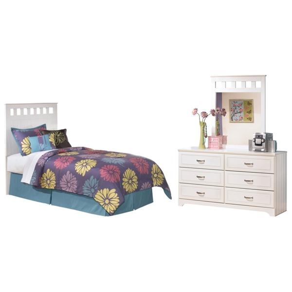 See Details - Twin Panel Headboard With Mirrored Dresser