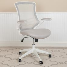 See Details - Mid-Back Light Gray Mesh Swivel Ergonomic Task Office Chair with White Frame and Flip-Up Arms