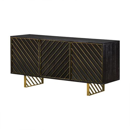 Monaco Rectangular Black Wood Sideboard with Antique Brass Accent