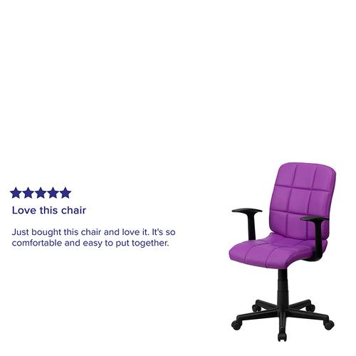 Gallery - Mid-Back Purple Quilted Vinyl Swivel Task Office Chair with Arms