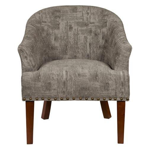 Mid Century Barrel Chair in Bruno Pewter