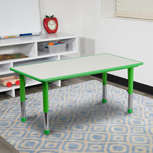 See Details - 23.625''W x 47.25''L Rectangular Green Plastic Height Adjustable Activity Table with Grey Top