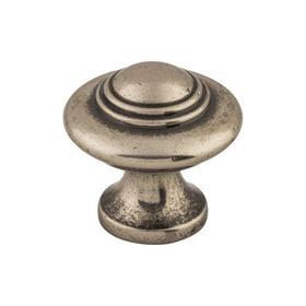 Ascot Knob 1 1/4 Inch Pewter Antique