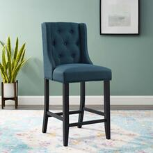 Baronet Tufted Button Upholstered Fabric Counter Stool in Azure