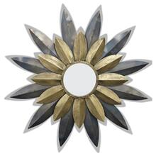 STAR STRUCK MIRROR  32in w. X 32in ht. X 1in d.  Metal Sculture Pedal Star Burst Wall Mirror