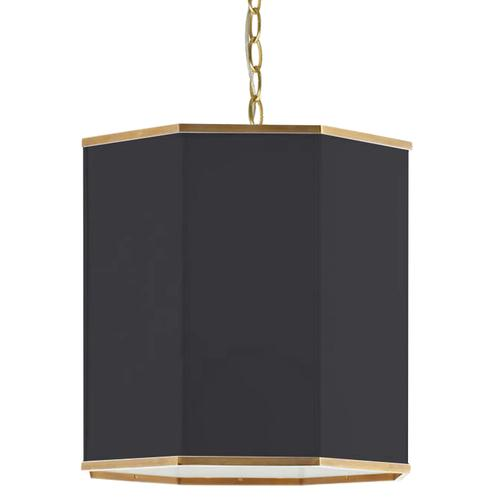 Product Image - 1lt Pendant, Agb W/ Bk Shade and Gld Trim