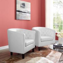 Prospect Upholstered Vinyl Armchair Set of 2 in White
