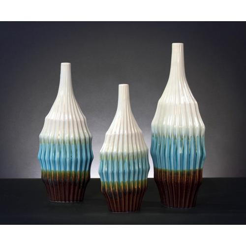 Cream, Turquoise, & Brown Ceramic Vase Set