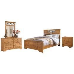 Queen Panel Bed With Mirrored Dresser and Nightstand