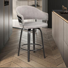 """Doral 30"""" Dark Gray Faux Leather Barstool in Black Powder Coated Finish and Black Brushed Wood"""