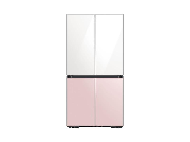 29 cu. ft. Smart BESPOKE 4-Door Flex™ Refrigerator with Customizable Panel Colors in White Glass Top and Rose Pink Glass Bottom