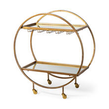 Carola Gold Frame Two-Tier Glass Shelves w/Stemware Holder Bar Cart