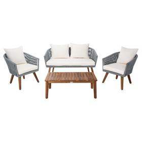 Velso 4 PC Living Set - Grey Rope / Beige Cushion / Natural Legs