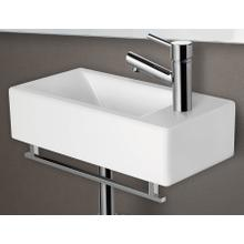 AB108 Small White Modern Rectangular Wall Mounted Ceramic Bathroom Sink Basin