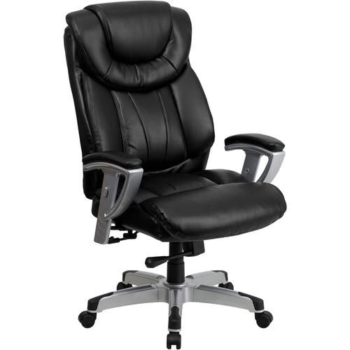 Gallery - HERCULES Series Big & Tall 400 lb. Rated Black LeatherSoft Executive Ergonomic Office Chair with Silver Adjustable Arms