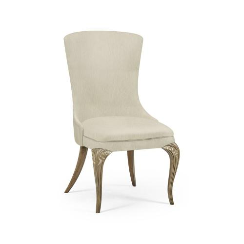 Rounded Rivoli Walnut Dining Side Chair, Upholstered in Castaway