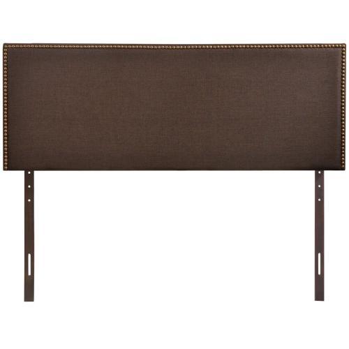 Region Nailhead Queen Upholstered Headboard in Dark Brown