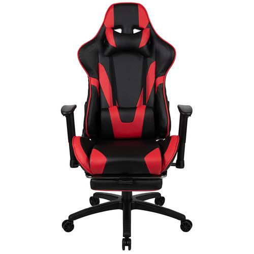 Gallery - X30 Gaming Chair Racing Office Ergonomic Computer Chair with Fully Reclining Back and Slide-Out Footrest in Red LeatherSoft