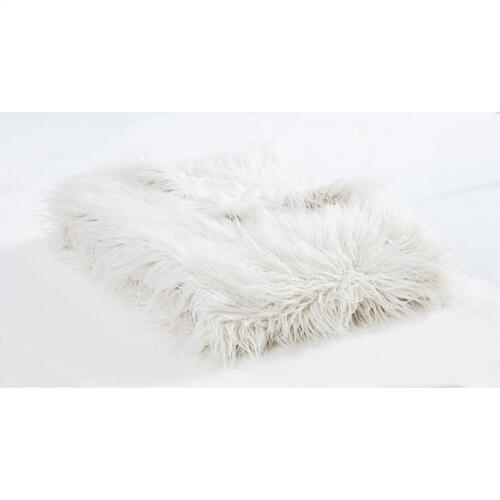 Mongolian Faux Fur Throw Blanket (6 Colors) - White