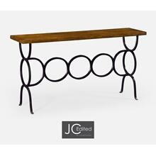 See Details - Country Walnut Console with Circular Wrought Iron Base