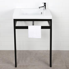 Floor-standing console stand with a towel bar (Bathroom Sink 5272 sold separately). It must be attached to wall.
