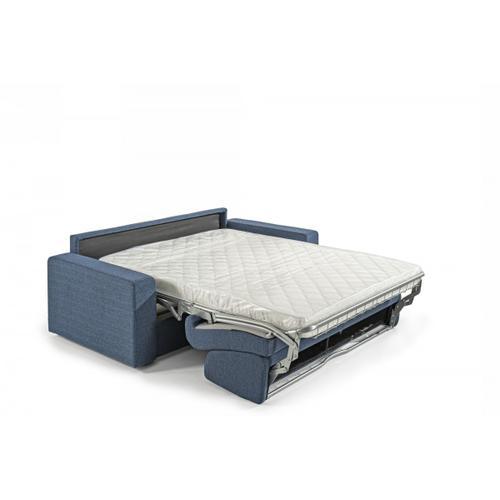 Modrest Made in Italy Urrita - Modern Blue Fabric Sofa Bed w/ Full Size Mattress