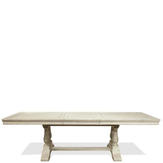 Riverside - Aberdeen - 80-inch Rectangular Dining Table Base - Weathered Worn White Finish