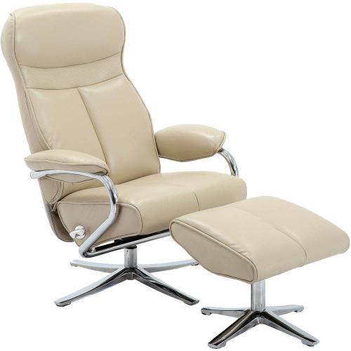 Hanover Paterson Swivel Lounge Chair with Ottoman in Cream, HLC0208