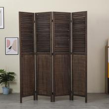 See Details - 7105 ANTIQUE BROWN Rustic Shutter 4-Panel Room Divider