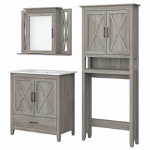 View Product - 32W Bathroom Vanity Sink with Mirror and Over Toilet Storage Cabinet, Driftwood Gray