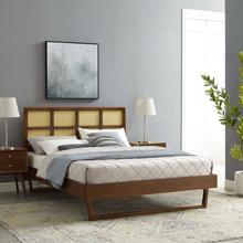 Sidney Cane and Wood Queen Platform Bed With Angular Legs in Walnut