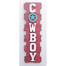 Vertical Red Back White Letter Cowboy