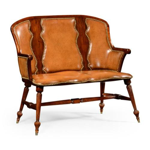 Walnut windsor splat back two seat bench with brown leather