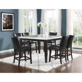 Francis 7 Piece 54-inch Square Marble Top Set(Counter Table & 6 Counter Chairs)