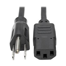 Desktop Computer AC Power Cable, NEMA 5-15P to C13 - 10A, 125V, 18 AWG, 3 ft., Black