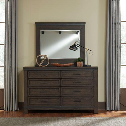 Liberty Furniture Industries - King Bookcase Bed, Dresser & Mirror, Night Stand