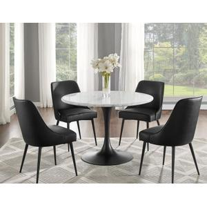 Colfax 45 inch Round White Marble Top/Black Base Dining Table