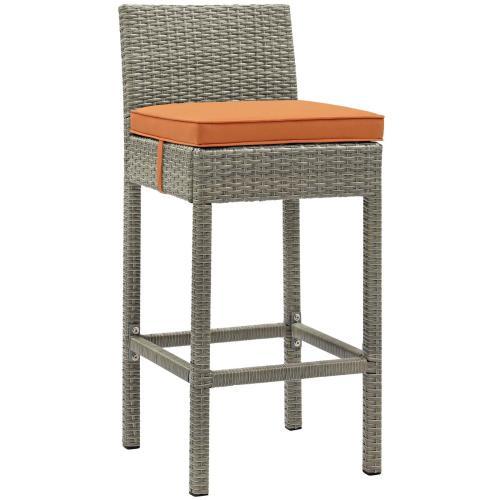 Conduit Bar Stool Outdoor Patio Wicker Rattan Set of 2 in Light Gray Orange